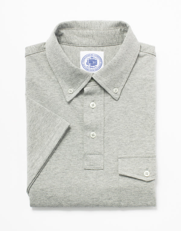 SOLID JERSEY BUTTON DOWN POLO - GREY