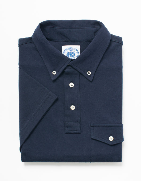 SOLID JERSEY BUTTON DOWN POLO - NAVY