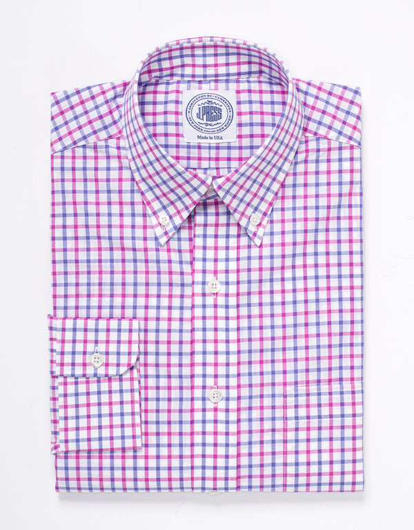 LARGE TATTERSALL SPORT SHIRT - BLUE/PINK