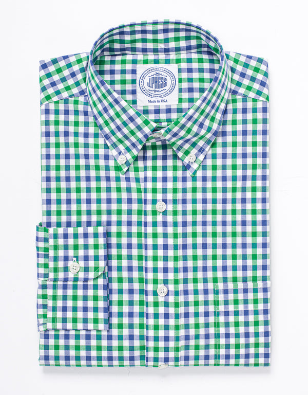 GINGHAM SPORT SHIRT - BLUE/GREEN