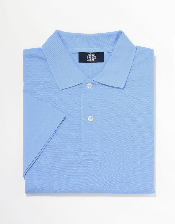 SOLID SHORT SLEEVE POLO SHIRT - BLUE