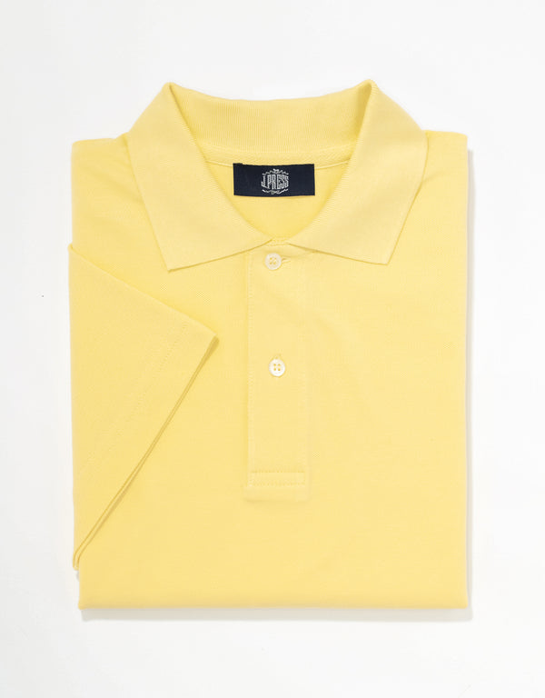 SOLID SHORT SLEEVE POLO SHIRT - YELLOW