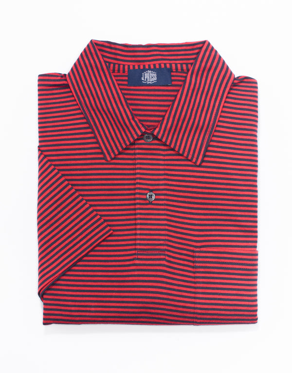 J. PRESS SHORT SLEEVE STRIPE POLO  - NAVY/BURGUNDY