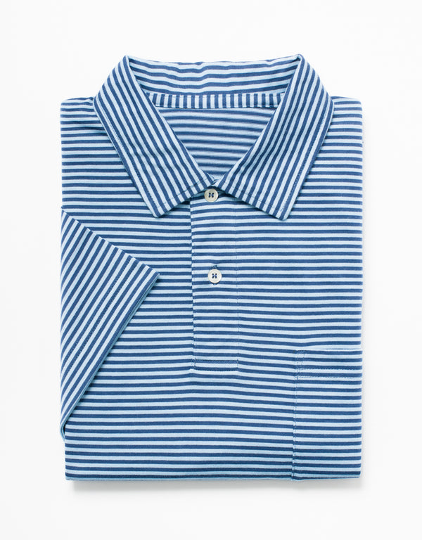 SHORT SLEEVE STRIPE POLO - DENIM/BLUE