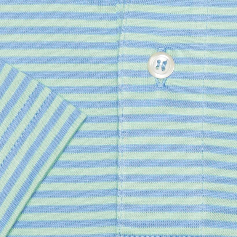 SHORT SLEEVE STRIPE POLO - BLUE/LIGHT GREEN