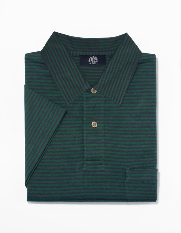 SHORT SLEEVE STRIPE POLO  - NAVY/GREEN