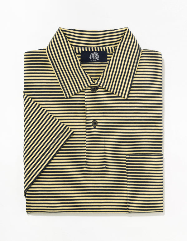 SHORT SLEEVE STRIPE POLO  - NAVY/YELLOW