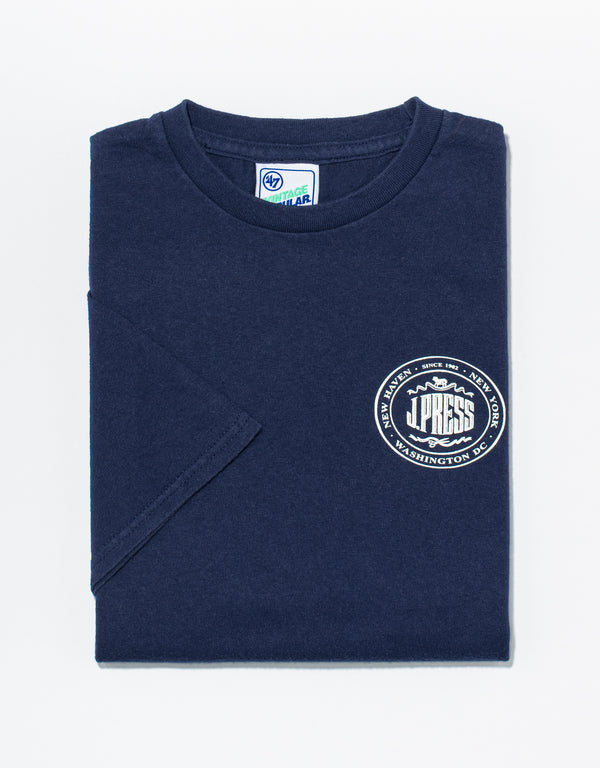 J. PRESS NAVY LOGO T-SHIRT