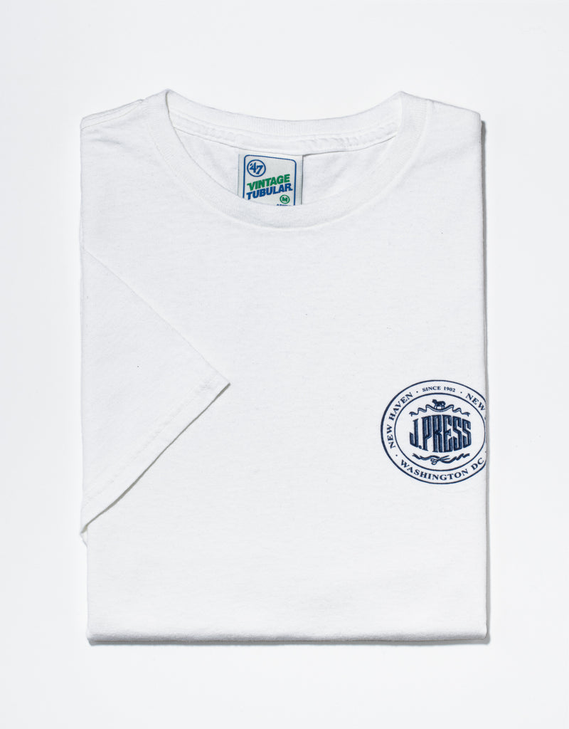 J. PRESS WHITE LOGO T-SHIRT