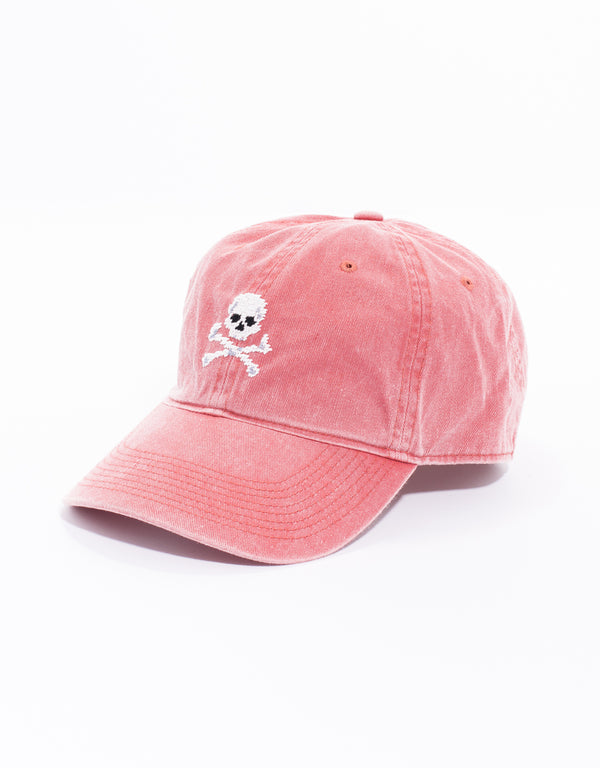 JOLLY ROGER NEEDLEPOINT HAT - RED