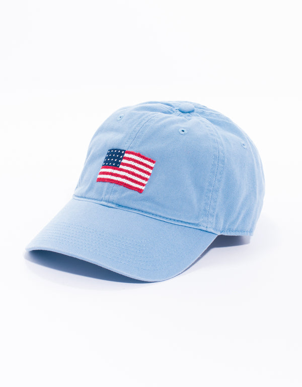 US FLAG NEEDLEPOINT HAT - BLUE