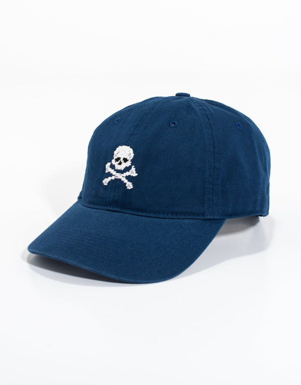 NEEDLEPOINT HAT - NAVY JOLLY ROGER
