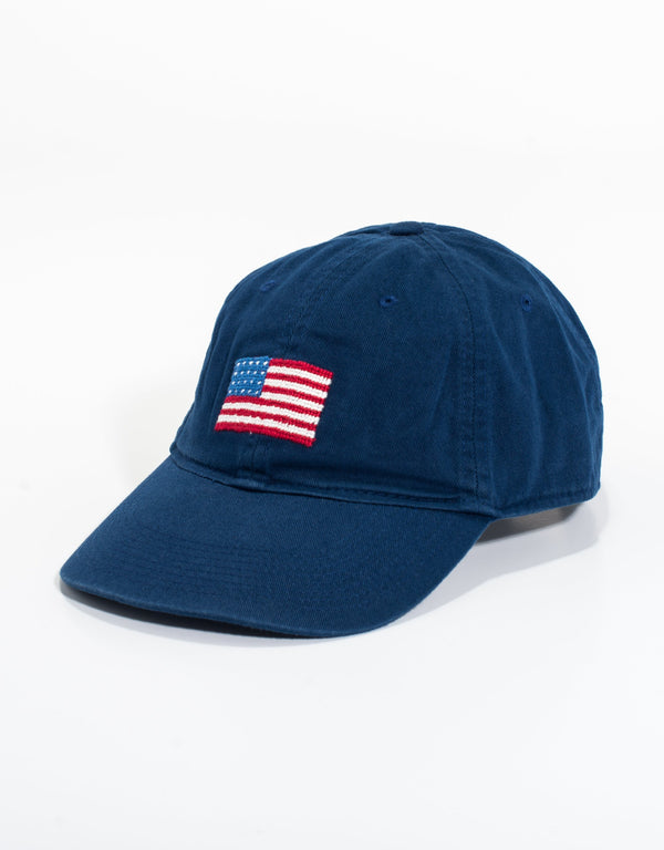 NEEDLEPOINT HAT-US FLAG