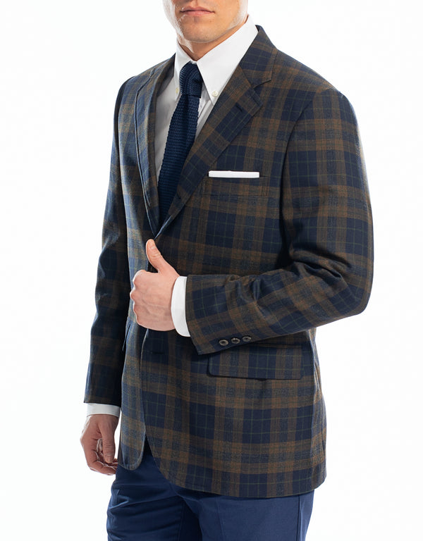 NAVY RUST PLAID