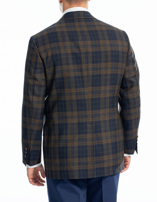 NAVY RUST PLAID SPORT COAT