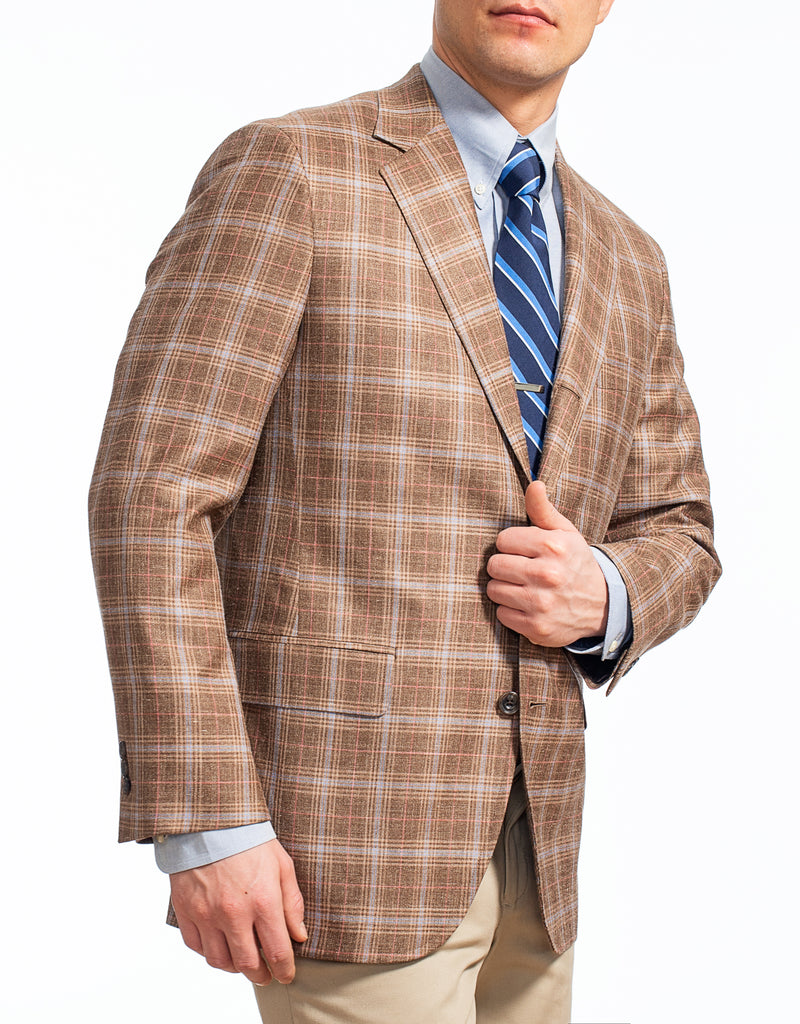 BROWN MULTI PLAID SPORT COAT