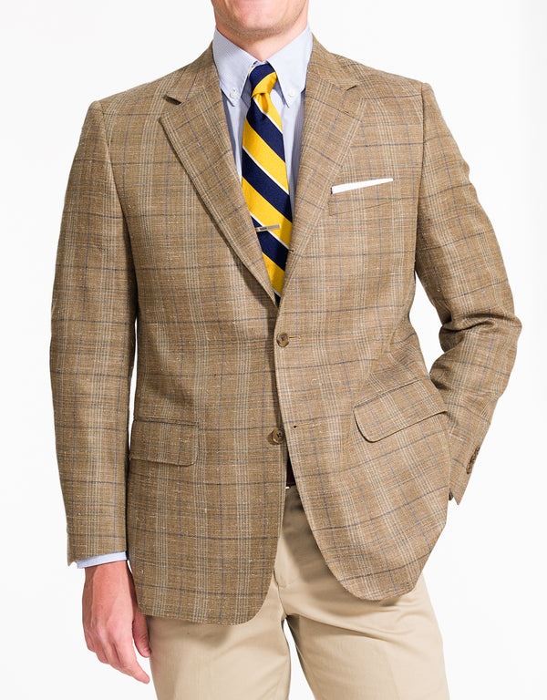 J. PRESS TAN PLAID SPORT COAT - CLASSIC FIT