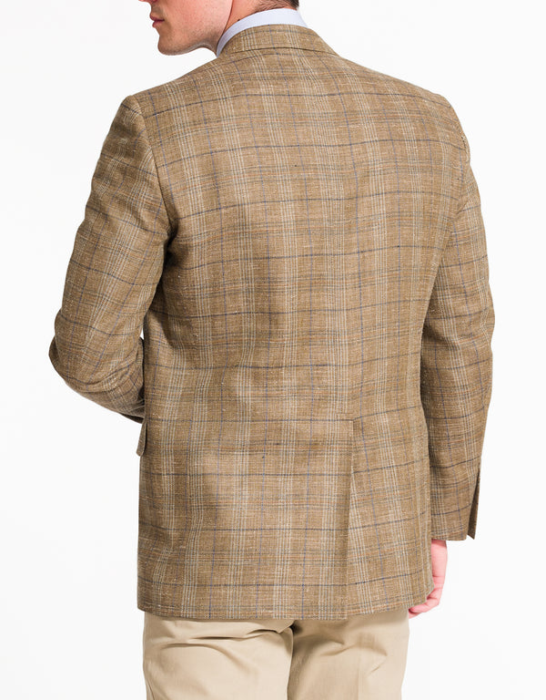 TAN PLAID SPORT COAT - CLASSIC FIT