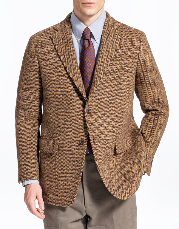 BROWN TAN HERRINGBONE SPORT COAT - TRIM FIT