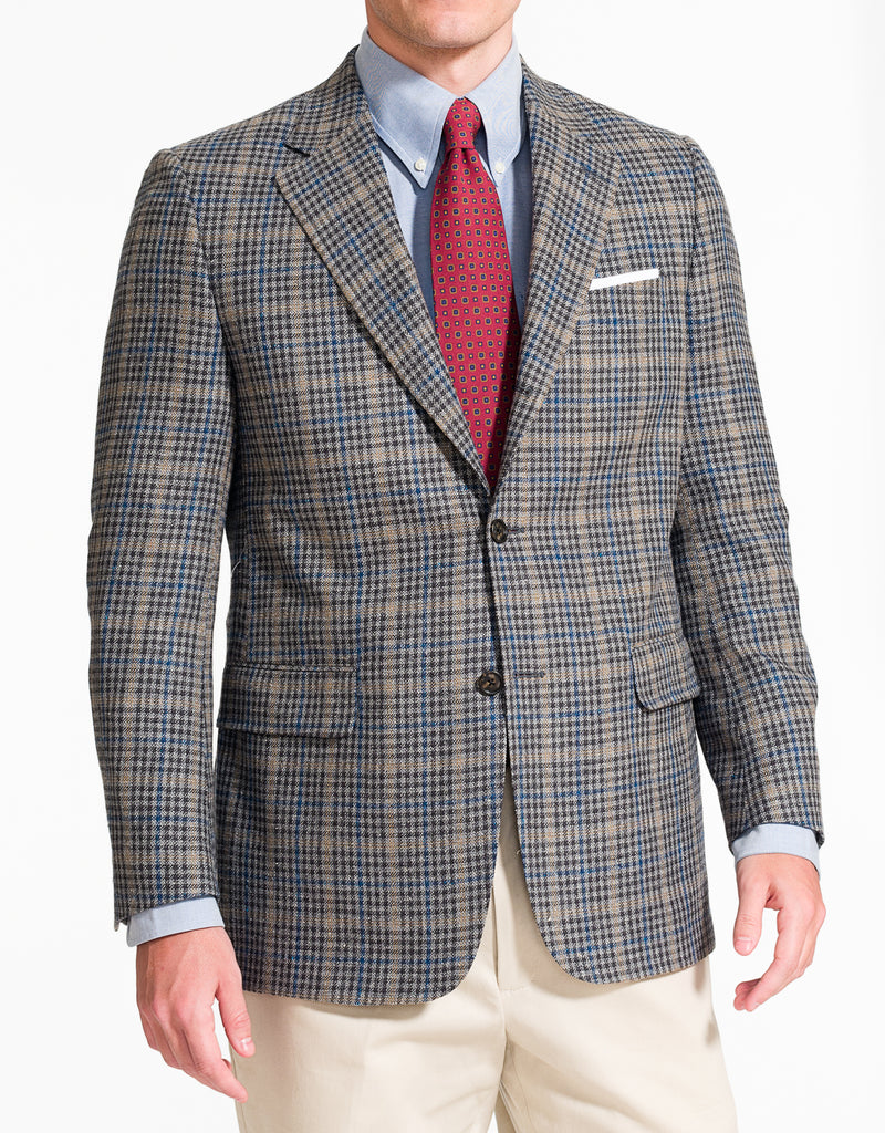 J. PRESS GREY CHECK WITH PANE SPORT COAT - CLASSIC FIT