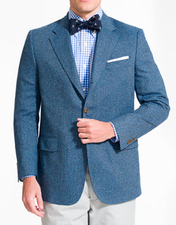 J. PRESS BLUE HERRINGBONE DONEGAL SPORT COAT - CLASSIC FIT