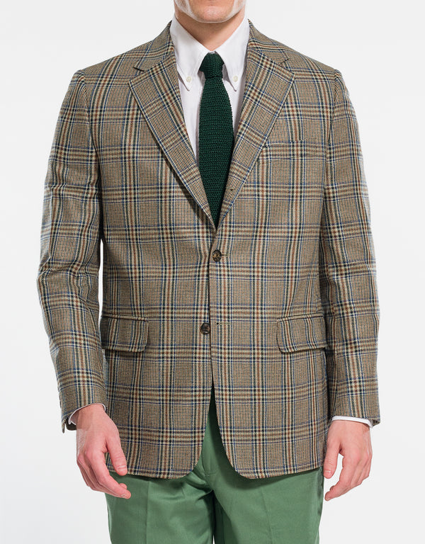 OLIVE PLAID WITH BLUE DECO SPORT COAT - CLASSIC FIT