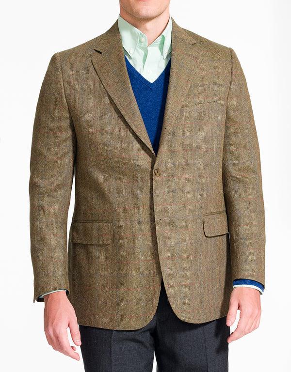 J. PRESS OLIVE BARLEYBONE WITH PANE SPORT COAT - CLASSIC FIT