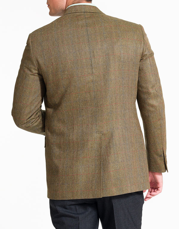 OLIVE BARLEYBONE WITH PANE SPORT COAT - CLASSIC FIT