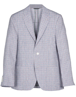 RED/BLUE/WHITE PLAID UNCONSTRUCTED MODERN FIT SPORT COAT  - CLASSIC FIT
