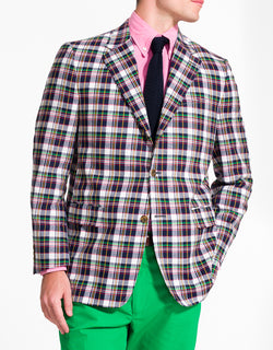 J. PRESS WHITE NAVY GREEN RED COTTON MADRAS SPORT COAT - CLASSIC FIT