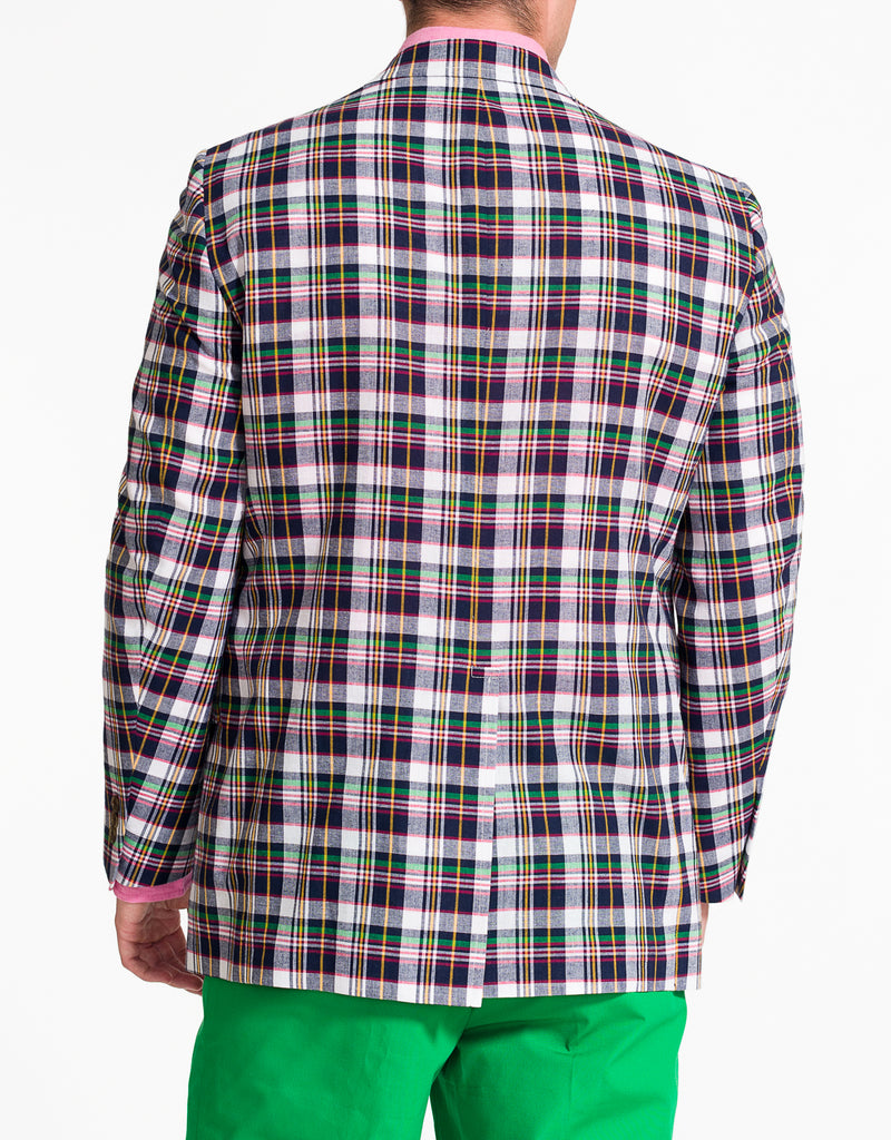 WHITE NAVY GREEN RED YELLOW COTTON MADRAS SPORT COAT - CLASSIC FIT
