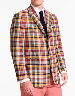 J. PRESS GOLD NAVY TAN COTTON MADRAS SPORT COAT - CLASSIC FIT
