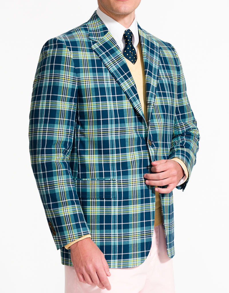J. PRESS NAVY AQUA YELLOW COTTON MADRAS SPORT COAT - CLASSIC FIT