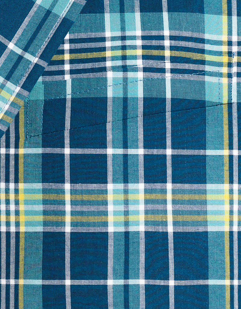 NAVY AQUA YELLOW COTTON MADRAS SPORT COAT - CLASSIC FIT