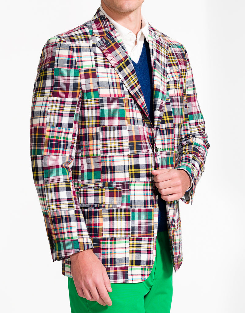 J. PRESS PATCHWORK COTTON MADRAS SPORT COAT - CLASSIC FIT