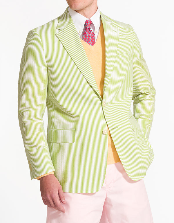 J. PRESS GREEN WHITE COTTON SEERSUCKER SPORT COAT