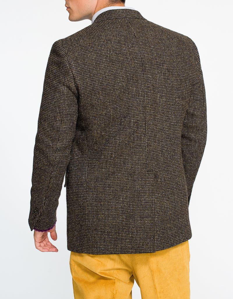 HARRIS TWEED DARK OLIVE TIC SPORT COAT - CLASSIC FIT