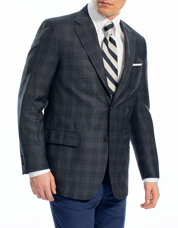 CHARCOAL PLAID SPORT COAT - CLASSIC FIT
