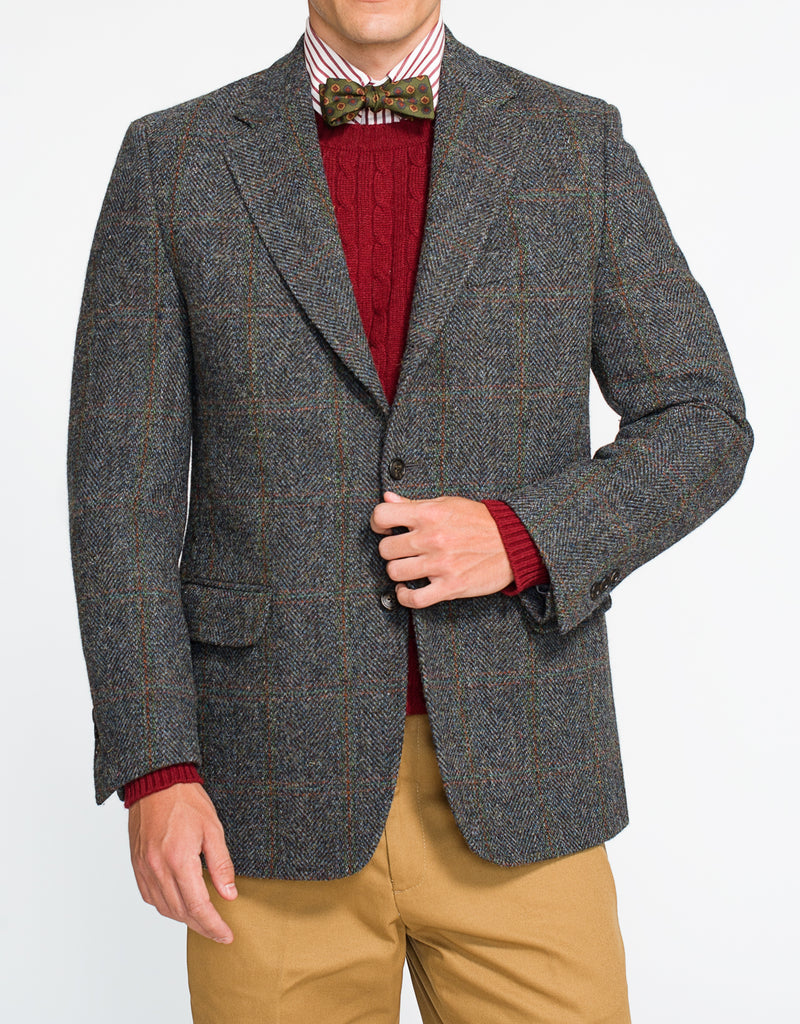 HARRIS TWEED BLUE/GREEN BARLEYBONE SPORT COAT - CLASSIC FIT