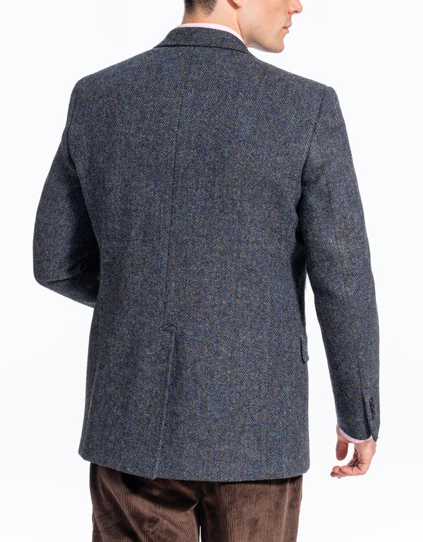 HARRIS TWEED BLUE MELANGE HERRINGBONE SPORT COAT - CLASSIC FIT