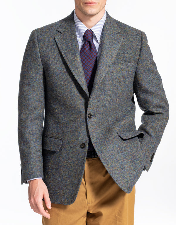 HARRIS TWEED OLIVE BLUE MARL SPORT COAT - CLASSIC FIT
