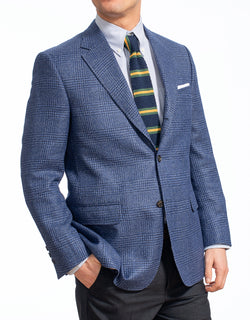 WOOL LINEN BLUE PLAID SPORT COAT