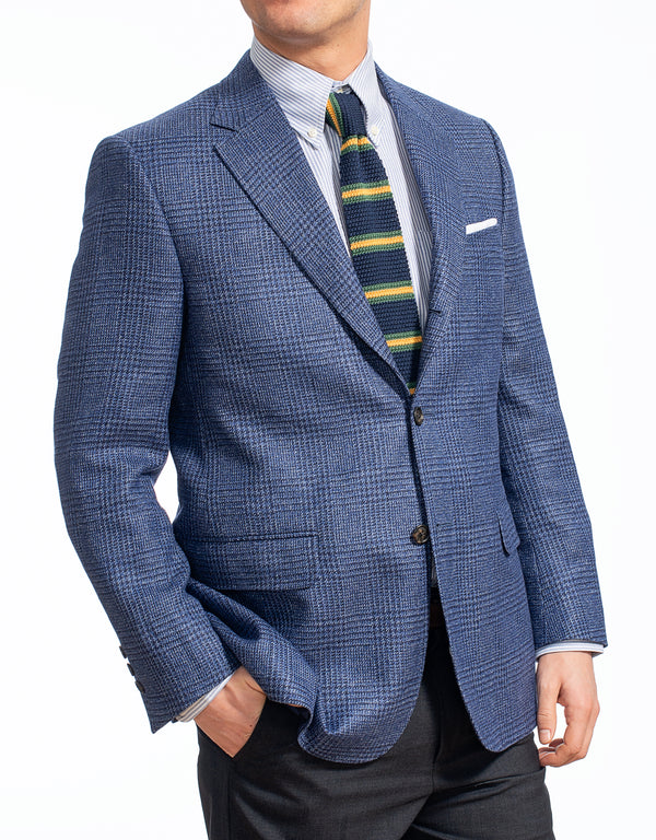 WOOL LINEN BLUE PLAID