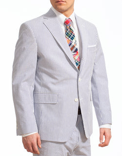 J. PRESS BLUE WHITE COTTON SEERSUCKER SPORT COAT