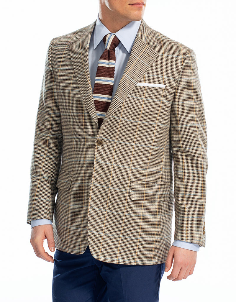 TAN CHECK WITH PANE SPORT COAT