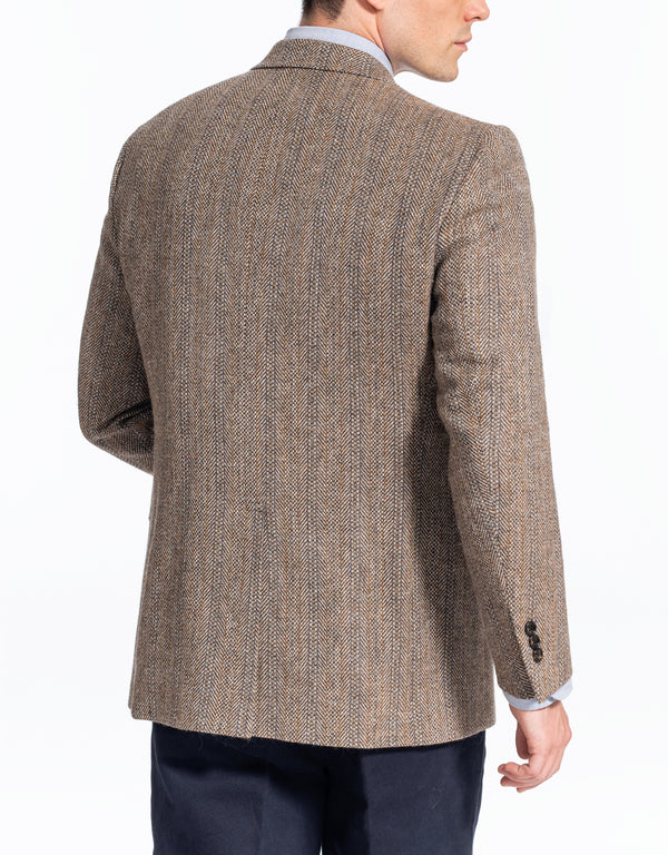 MAGEE LIGHT BROWN BARLEY STRIPE SPORT COAT - CLASSIC FIT