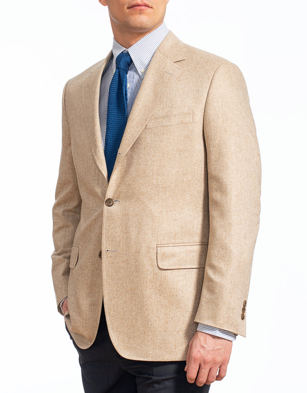 TAN SILK SOLID SPORT COAT