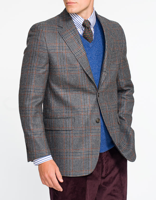 GREY WITH BLUE RED PLAID SPORTCOAT
