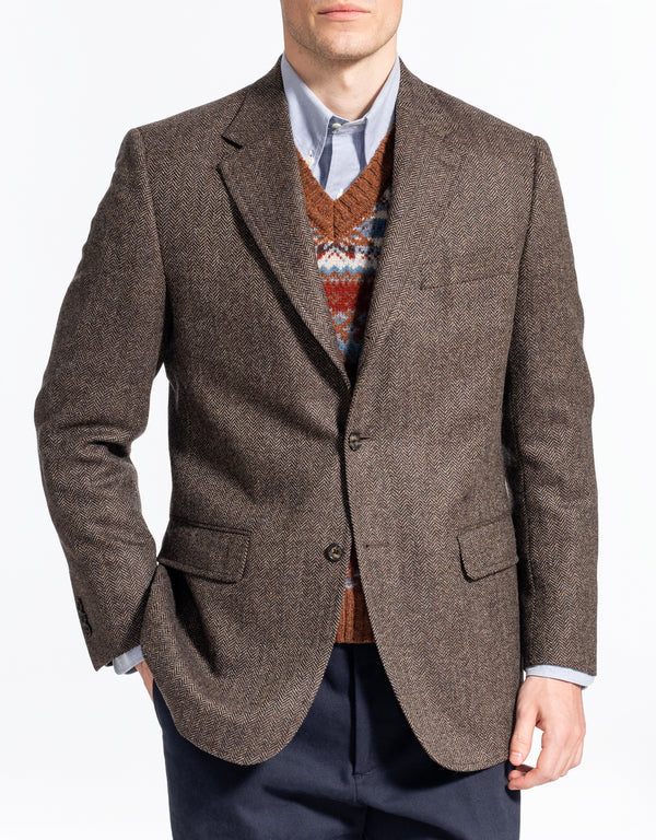 BROWN OLIVE  HERRINGBONE SPORT COAT - CLASSIC FIT