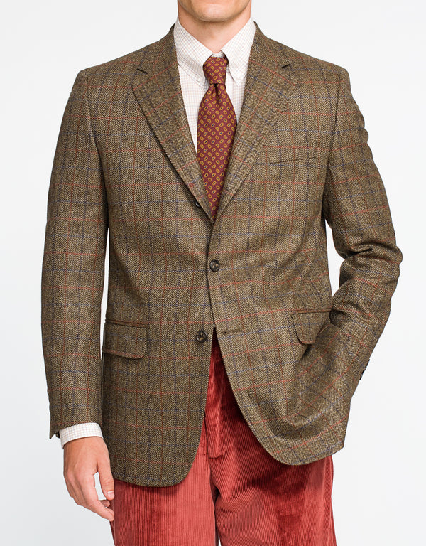 OLIVE HERRINGBONE WINDOWPANE SPORT COAT